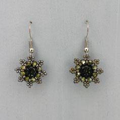 Ohrringe metallic grau-grün Swarovski Chaton Rocailles
