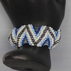 Armband silber-blau-weiß  Miyuki