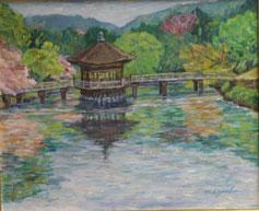 奈良 浮見堂 油彩15号