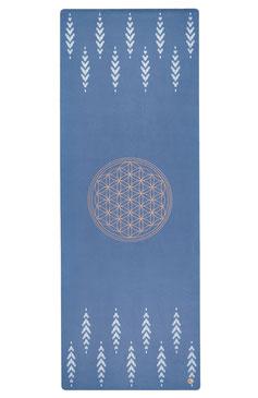 Yogamatte Naturkautschuk Blume des Lebens blau