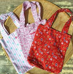 tote bag petite taille, cabas tissus upcyclé, imprimés fleurs couleurs