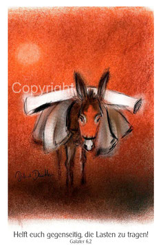 Esel, Pastell orange