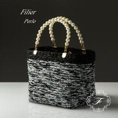 Perleペルル  ハンドメイドバッグ オリジナルバッグ セレモニー ネット編み付けバッグFilierフィリエ ディプロマ講座課題作品