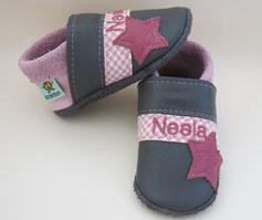 Schuhe mit Namen, Krabbelschuhe personalisiert, Taufschuhe,nach Maß, höher Rist, schmalle Füße,