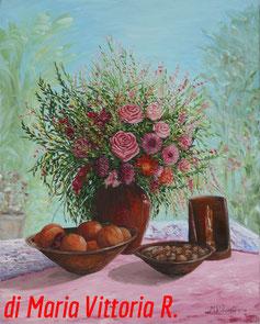 natura morta con fiori, olio su tela cm 40x50 anno 2010