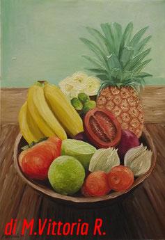 frutta e verdura, olio su tela cm 35x50 anno 2011