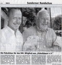 """Ein Fickelchen für das 500. Mitglied von """"Fickeltünnes e.V."""" - 21.08.2001"""