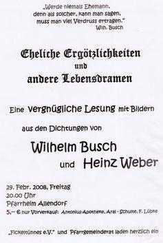 Lesung Wilhelm Busch und Heinz Weber - 29.02.2008