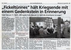 """""""Fickeltünnes"""" hält Kriegsende mit einem Gedenkstein in Erinnerung - 20.04.2005"""