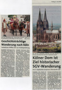 Geschichtsträchtige Wanderung nach Köln/ Kölner Dom ist Ziel historischer SGV-Wanderung - 11.07.2008