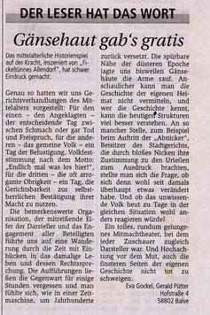 Leserbrief Südländer Volksfreund: Gänsehaut gab´s gratis - 29.08.2003