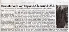 Heimaturlaub von England, China und USA - 01.10.1966