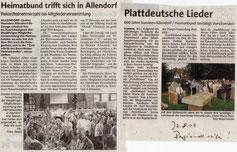 Regionalseite: Heimatbund trifft sich in Allendorf/ Plattdeutsche Lieder - 27.08.2007