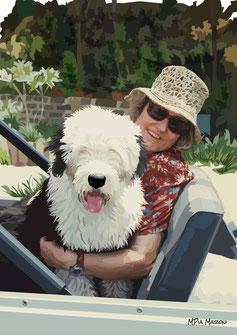 disegno-drawing-bobtail-cane-dog-digital-art-old-english-sheepdog-portrait-seduto-fuoristrada-auto-scoperta-padrone