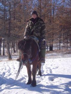 A cheval en hiver en Mongolie