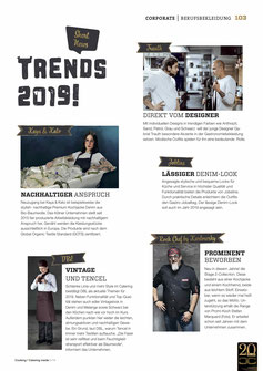 Artikel Berufbekleidung Trends 2019. Cooking Catering Inside 5/2019