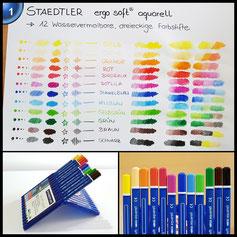 Staedtler 156 SB12 ergo soft aquarell wasservermalbarer Farbstift, aufstellbare Staedtler Box mit 12 Farben