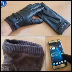 ANVEY Touchscreen Outdoor Leder Winter-warme Handschuhe für Herren Motorrad Gloves