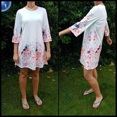 Flying Rabbit Damen Midikleider Rundhals Partykleider Lange Abendkleid Elegant Muster Kleider Langarm Kleid