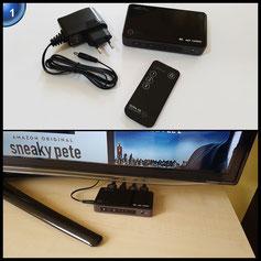 KabelDirekt UHD 4K HDMI Switch 3 auf 1 Modell 2017 (UltraHD 2160p, FullHD 1080p, 3D, HDCP, ARC) mit Fernbedienung & integriertem HDMI Verstärker - PRO Series