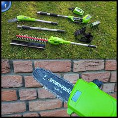 Greenworks Tools 40 V Akku-Hochentaster und Teleskop Heckenschere 2-in-1 inklusive 2 Ah Akku und Ladegerät, 1 Stück, grün, 1300607VA