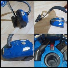 AEG VX4-1-CB-P Staubsauger mit Beutel EEK A (750 Watt, inkl. Hartbodendüse, 7,5 m Aktionsradius, 3,5 Liter Staubbeutelvolumen, Hygiene Filter E12) blau [Energieklasse a]
