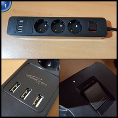 KabelDirekt 3-fach Steckdosenleiste mit 3-fach USB Ladegerät (max. 4,8 A, bis 4000 W/250 V/16 A belastbar, 1,5 m, Kinder- und Überspannungsschutz) schwarz