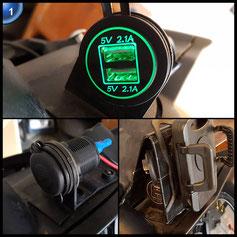 BlueFire Upgrade LED USB Ladegerät Steckdose 4,2 A 12-24V Wasserdicht Power Adapter für Auto Boot Motorrad (Grün)