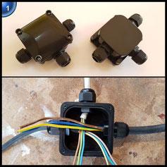 ATPWONZ 2er Kabel-Verbindungsbox, IP68, Verbindungsmuffe für Kabeldurchmesser 6.5-10.5mm, 3-polig