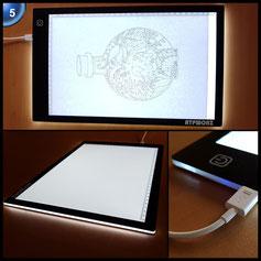 ATPWONZ Leuchttisch A4 LED Leuchtkasten Leuchtplatte zeichnen zubehör einstellbare Helligkeit LED Handwerk Leuchttisch mit USB Kabel 360 x 240mm
