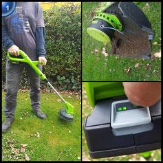 Greenworks Tools 2101207UA 24V Akku Rasentrimmer inklusive 2Ah Akku und Ladegerät