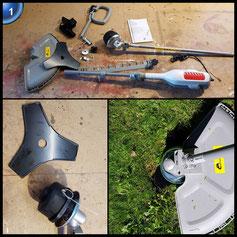 IKRA Elektro Sense Rasensense IES 1000 C, Schnittkreis bis 370mm, 1.000 Watt, inkl. Fadenspule mit Tippautomatik und 3-Zahn-Dickichtmesser, inkl. Schultergurt