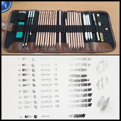 SOLEDI 18pcs Skizze Bleistifte Radiergummi Holzkohle Bleistift Papier Pen Set Papierfederzeichnung mit Tasche Zeichenset Art Set