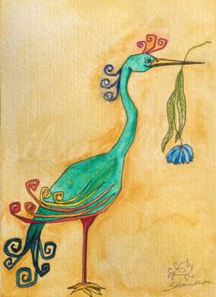 Kranich mit Blume, Illustration von silvanillion