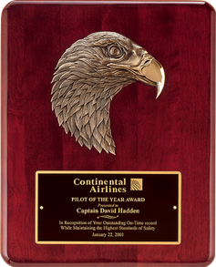 "10-1/2"" x 13"" Rosewood stained piano finish plaque with antique bronze finish finely detailed eagle casting."