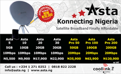 New Asta pricing, Most affordable satellite broadband, ISP Nigeria, Africacom, Coollink, Coollink.ng, Best inernet Nigeria, High Speed Internet