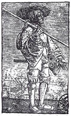Landsknecht im 16. Jahrhundert. Stich von Altdorfer. B.49. Dresden. Kupferstichkabinett.