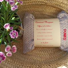 bouillotte sèche imprimé rose et bleu fond blanc coton tissu upcyclé