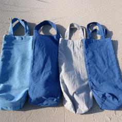 tote baguettes, sacs à pain, toile coton, chanvre, lin upcyclés bleu, beige