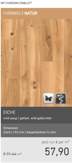 Weitzer Parkett Eiche wild  gefast wild gebürstet EUR 57,90/m2