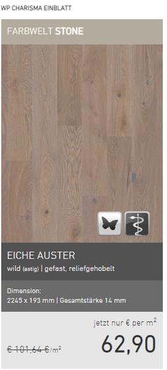 Weitzer Parkett Eiche Auster  wild gefast reliefgehobelt EUR 62,90/m2