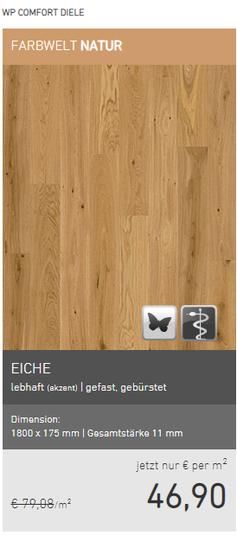 WP Eiche lebhaft gefst gebürstet EUR 46,90/m2