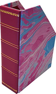 porta riviste pelle carta marmorizzata personalizzabili