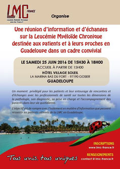 LMC France REGINE MAURIN GUADELOUPE REUNION INFORMATION PATIENT PROCHE LEUCEMIE MYELOIDE CHRONIQUE