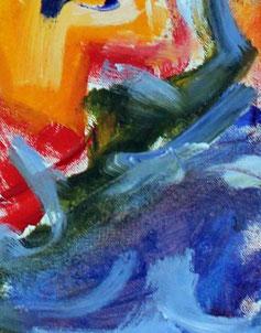 """Ausschnitt aus """"Wasser Erde Mensch"""", 70 cm x 100 cm, Acryl auf Baumwolle, 2008"""