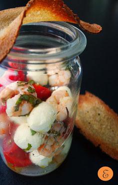 Garnelen-Caprese-Salat / Brotchip