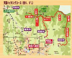 北部の山の尾根を中心に6つのハイキングコースがあるようです。