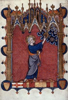 Dieu créant le Soleil et la Lune - Enluminure 1290