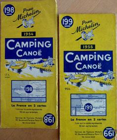 """MICHELIN, Carte """"Camping Canoë"""" n° 198 & 199, années 40 et 50 (la Bibli du Canoe)"""
