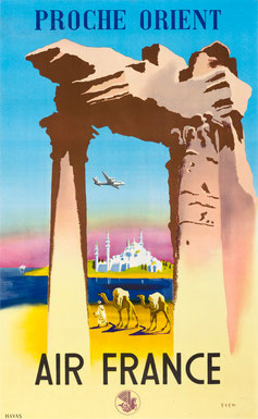 Vintage Poster Air France Proche Orient   Jean Even